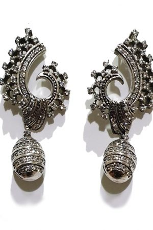 Silver Zircon Studded Designer Earrings PSJ10006