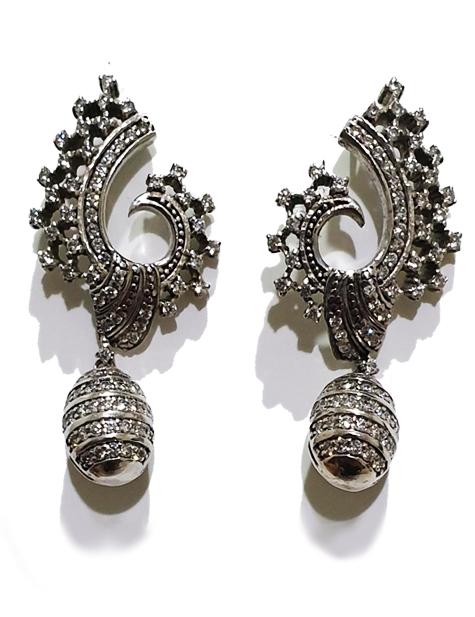 Silver Zircon Studded Designer Earrings PSJ10006
