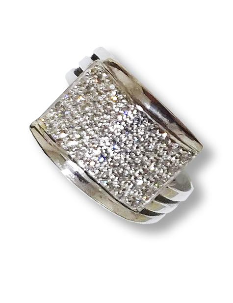 Silver Zircon Studded Designer Ring PSJ10004