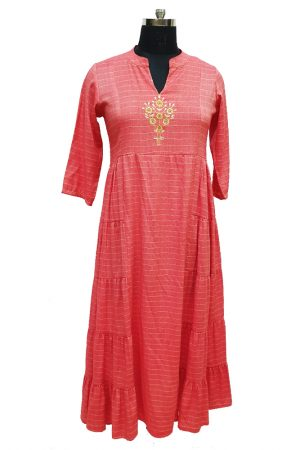 Gown Style Checks Printed kurti.S,M,L,Xl, PSK100044