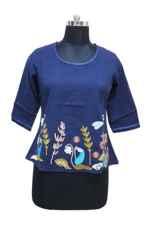 Short Flex Cotton Embroidered Top. S,M,L,Xl, PSK100046