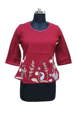 Short Flex cotton Embroidered Top. S M,L,Xl, PSK100047