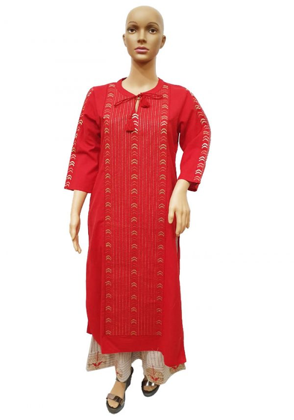 Red Cotton Flex Embroidered Palazzo Set, PSK100057