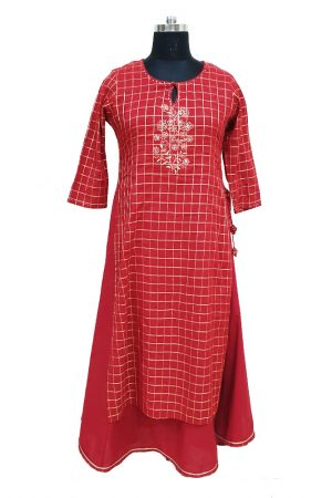 Checks Print Double Piece Embroidered Kurti, PSK100072