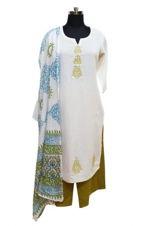 Cotton Embroidered Palazzo Set with Printed Dupatta, PSK100078