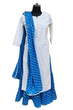 Chikan Cotton Skirt and Dupatta set, PSK100087