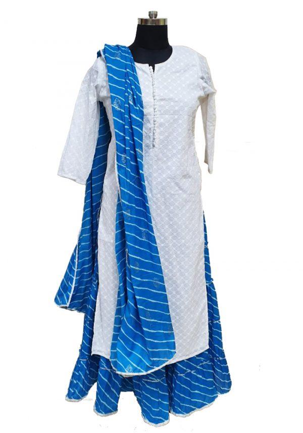 Chikan Cotton Skirt and Dupatta set, PSK100087