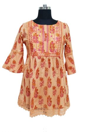 Hand Block Printed Cotton Embroidered Top, PST100012