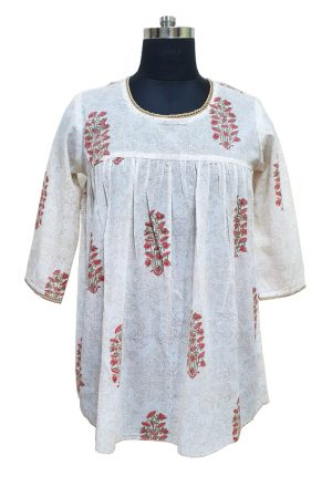 Hand Block Printed Cotton women Top, PST100017